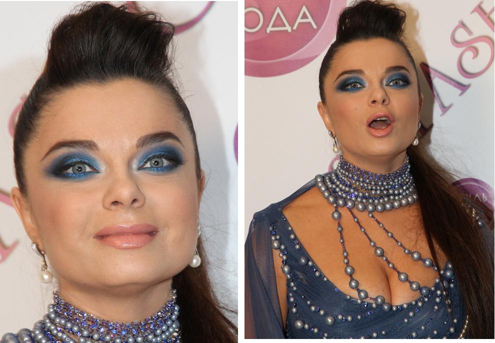 Фото знаменитости с неудачным макияжем
