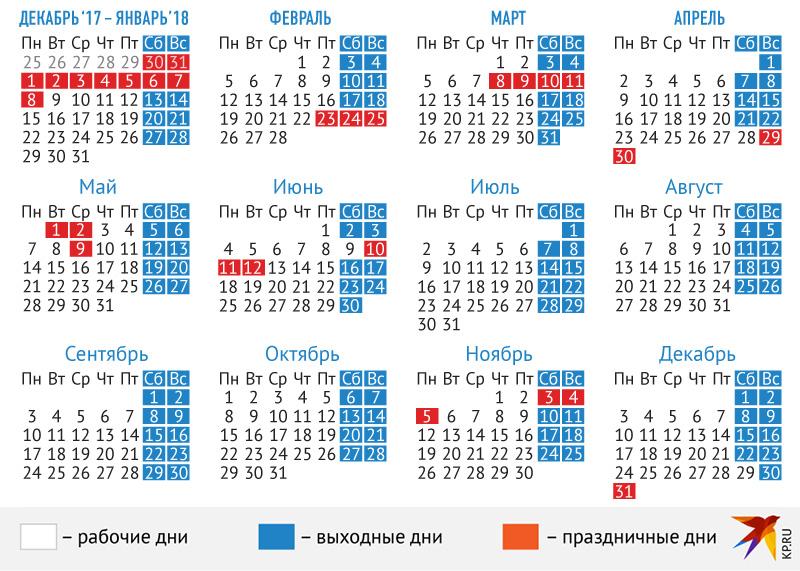 Производственный календарь на 2018 год с праздниками и выходными