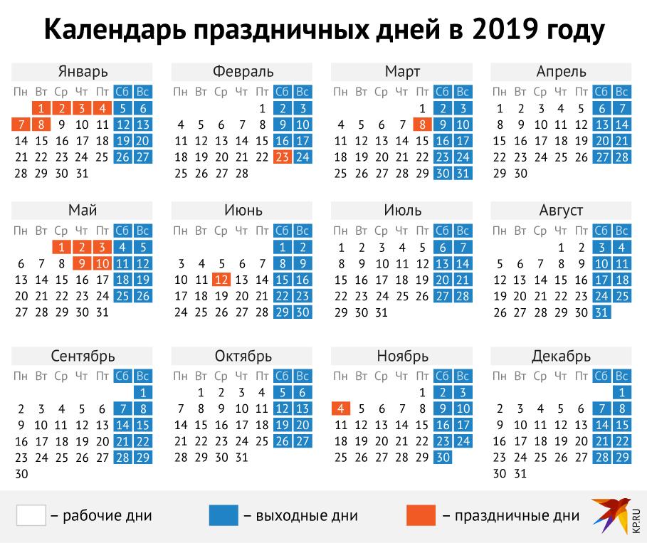 Календарь праздничных дней 2019 год