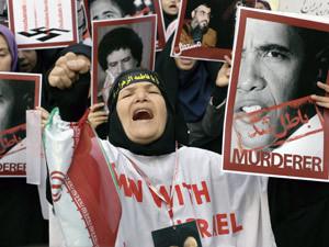 Демонстрация в Тегеране против участия США в ливийских и йеменских событиях.