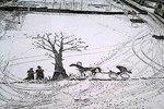 Снег, метла и красота: дворник рисует картины на запорошенном асфальте