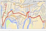 Карта маршрута эстафеты олимпийского огня в Краснодаре