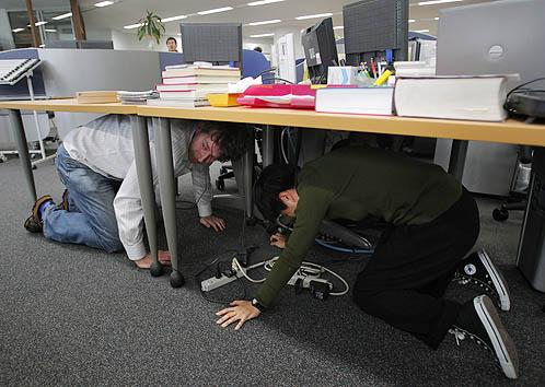 Журналисты новостного агенства АП во время подземных толчков