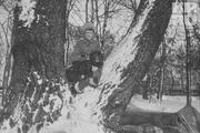 1916 год. Царскосельский парк. Наследник престола Алексей Николаевич со своим любимым псом, черным спаниелем Джоем.