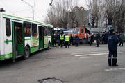 ДТП в Барнауле: столкнулись два автобуса и грузовик (12 ноября 2013 год)