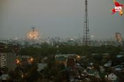 Салюты в честь Дня Победы в небе над Новосибирском