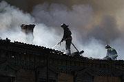 Сильный пожар в центре Иркутска