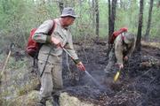 Амурские пожарные-десантники тушат торфяные пожары