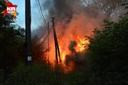 Пожар на улице Грибоедова в Новосибирске