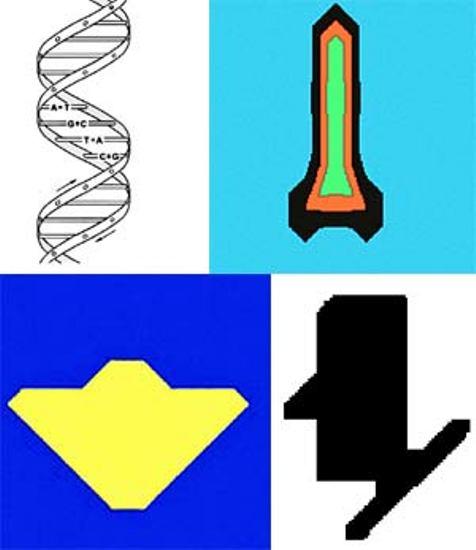 Такие картинки ученый получил, «прочитав» с помощью специальной компьютерной программы матрицу-календарь: слева направо - фрагмент молекулы ДНК, ракета, «летающая тарелка» и символическое изображение головы человека, почему-то представленной на подставке.