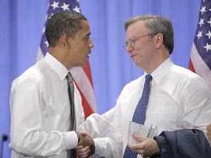 Барак Обама и директор Google Эрик Шмидт - союз реальной и виртуальной держав.