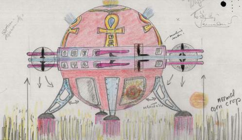 Загадка Оксфордшира. Объект 12 метров в высоту, да еще и ярко розового цвета. Интересно, чем должны были заниматься английские фермеры, если они не заметили подобную красоту? Такой рисунок с изображением НЛО набросал очевидец. Он рассказал, что наблюдал,