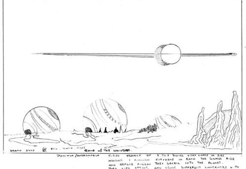 Пейзаж: рисунок с изображением ландшафта на планете пришельцев, на которой был похищенный инопланетянами очевидец. В приложении описываются города с двумя или тремя «куполами, очень огромными по размеру, в них обитает миллион жителей в каждом»
