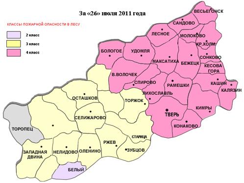 Карта пожаров на 26 июля 2011