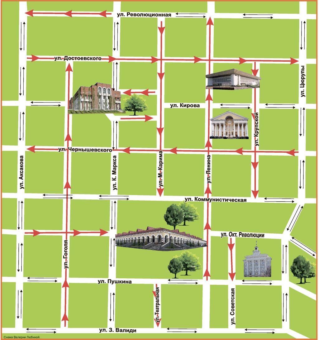 С 10 сентября на семи улицах в центральной части Уфы городские власти вводят одностороннее движение.