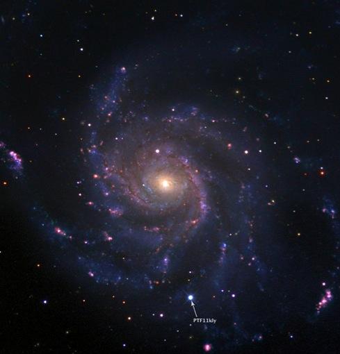 Вспышка показана на фоне нашего Млечного Пути.