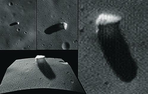 «Монолит» на снимках зонда Mars Global Surveyor (вверху и справа). Внизу - компьютерная реконструкция объекта.