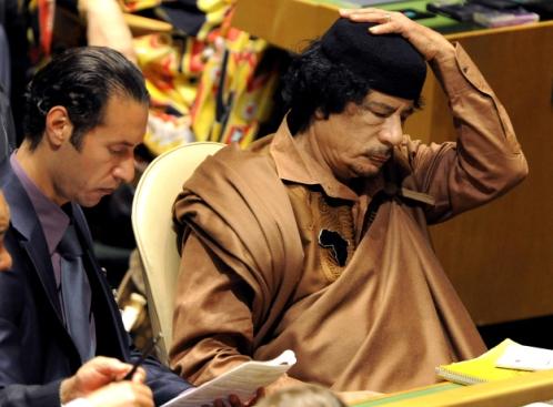 Мутассим Каддафи с отцом в ООН.  2009 год.