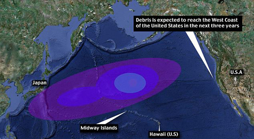 Смытое цунами направляется к берегам США и уже добралось до атолла Мидуэй