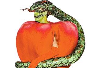 ХаЙди Клум оделась яблоком из Эдемского сада, а заодно и змием (это надо видеть).