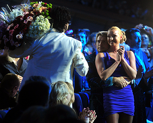 Николай Басков целовался в партере с балериной Анастасией Волочковой.