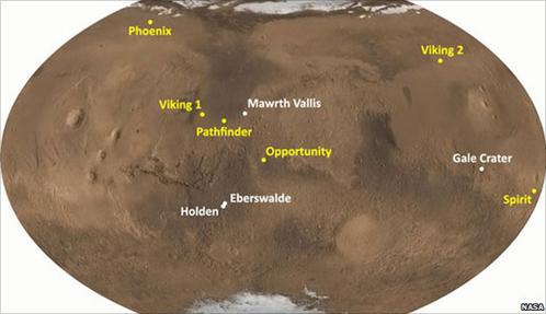 Curiosity будет работать там, где никто еще не был (на схеме места посадок предыдущих миссий)