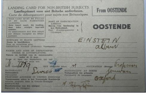 Иммиграционная карточка Эйнштейна.