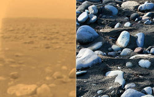Галька: слева на Титане, справа - на Земле