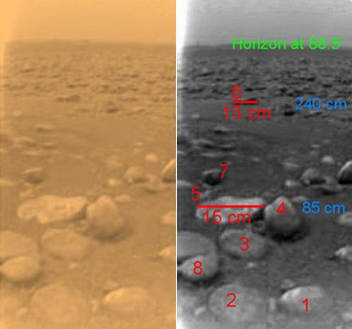 Ученые прикинули размер валунов, лежащих на поверхности Титана (справа)