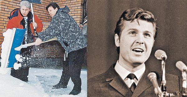 Лещенко, словно молодильных яблок отведал, годы его не берут! На фото справа - с женой Ириной. На фото слева - с другом Владимиром Винокуром не прочь поразмяться, помахать лопатой.