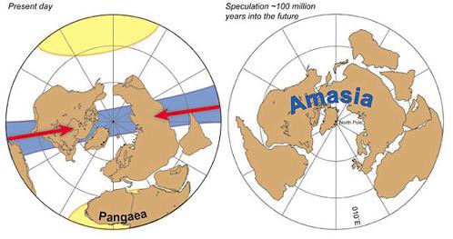Слева: так Земля выглядит сейчас. Справа: Амазия, в которой люди, возможно, будут жить через100-200 миллионов лет