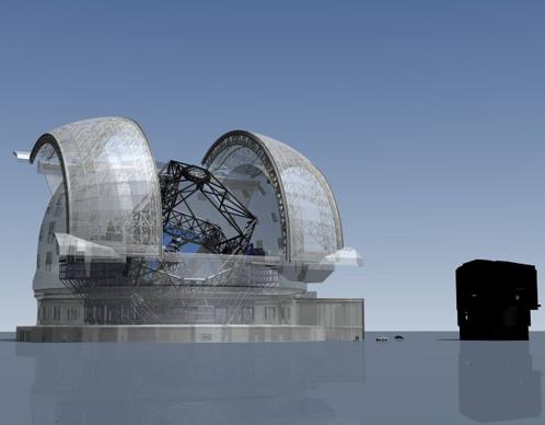 """Таким будет """"Чрезвычайно Большой Телескоп"""". Справа, для сравнения, """"Очень Большой Телескоп"""""""