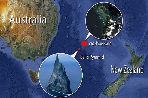 Пирамида Болла торчит между Австралией и Новой Зеландией