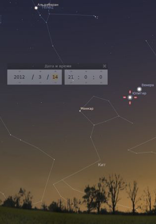 14 марта две планеты окажутся ближе всего на небосводе. Схема с астрономического сайта города Братска http://www.astro-bratsk.ru/events/224-venus-2012.html