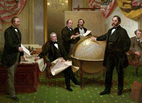 Подписание договора о продаже Аляски 30 марта 1867 года. Репродукция картины Э. Лейтце «Подписание договора о продаже русских владений на Аляске».