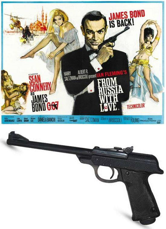 Этот вальтер (Walther LP53) уникален - пистолет использовался на рекламных постерах к большинству бондовских фильмов, но ни в одном из них не был задействован.