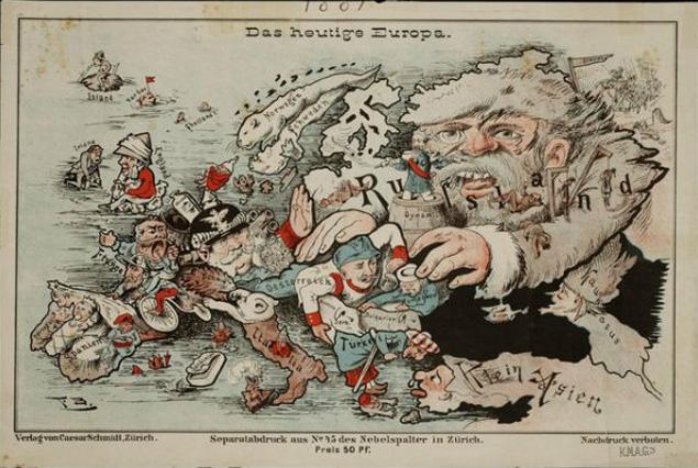 Эта карикатура нарисована в Германии перед Первой мировой войной. Еще нет ни Сталина, ни коммунистов, а русская угроза - уже есть!