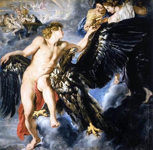 Сюжет про похищение Ганимеда весьма популярен у живописцев. Конкретно это - Рубенс.