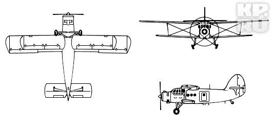 Ан-2 в трёх проекциях