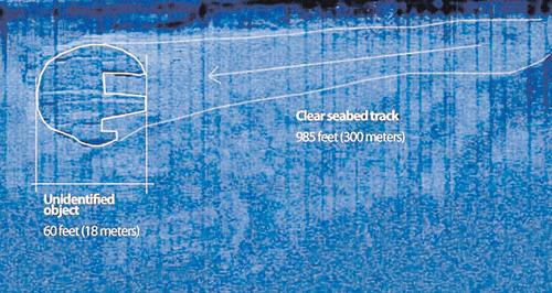 На фото круглого НЛО (слева), полученном с помощью сонара, руководитель экспедиции Питер Линдберг нарисовал контуры трека.
