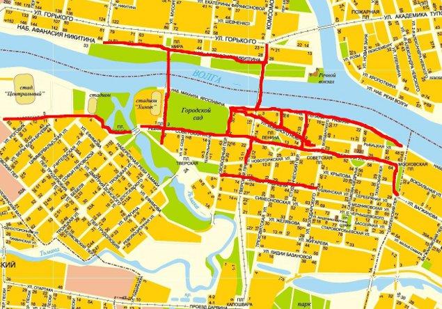 Схема перекрытий улиц Твери в