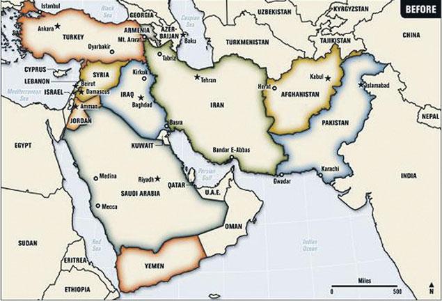 Так границы на Ближнем Востоке выглядят сегодня...