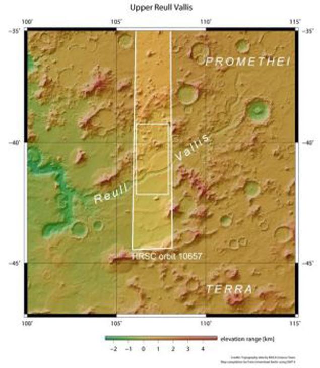 Район Марса, по которому протекала река