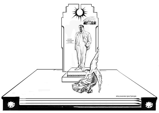 """Так выглядит один из проектов памятника Деду Хасану. На втором варианте: тоже самое, только """"вор в законе"""" не стоит во весь рост, а ему сделан бюст."""