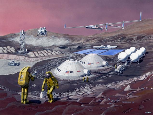 Задача колонистов создать на Марсе долговременную базу