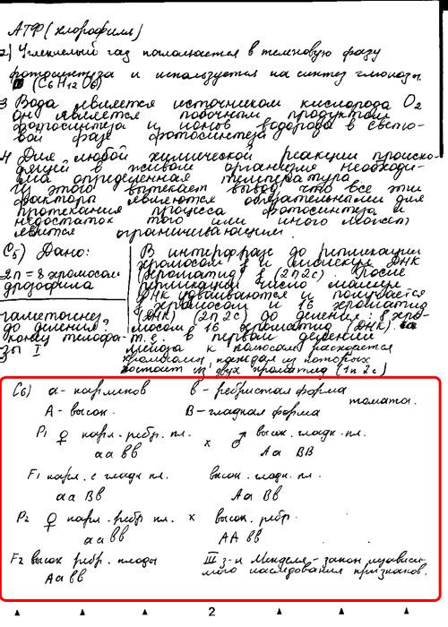 А здесь совсем уж внаглую ответ на одно из заданий вписан другим почерком. Решение задания С5 написано одной рукой, а С6 - явно другой.