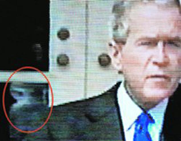 В связях с пришельлцами подозревали и президента Буша, после того как заметили морду одного из них в окне Белого дома