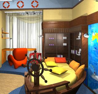 Комната в морском стиле.