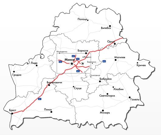 Карта платных дорог Беларуси.