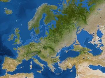 Европа. Белой линией обозначены границы суши до потопа. То есть, нынешние